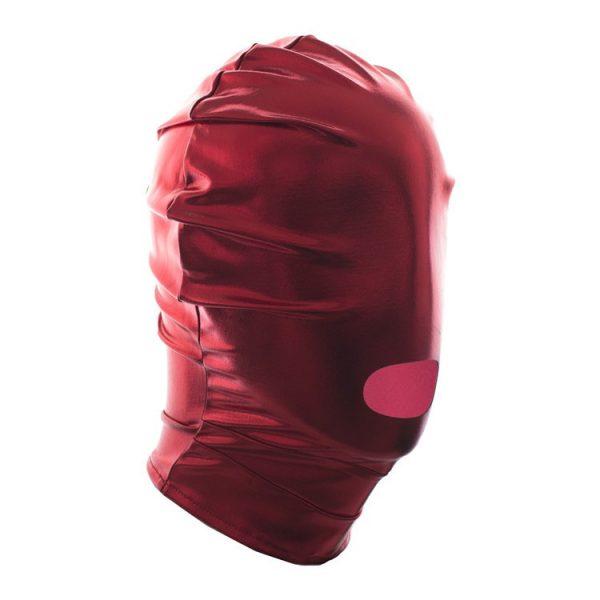 Lesklá kukla na tvár otvor na ústa - červená farba