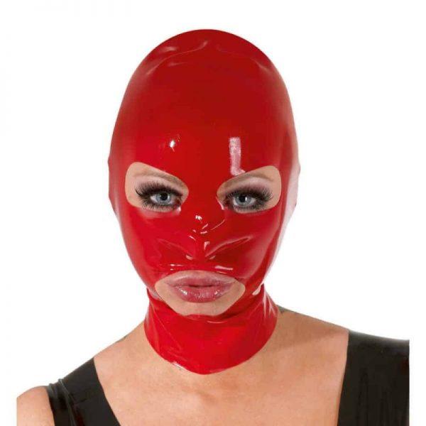 Červená latexová maska s otvorom na oči a ústa