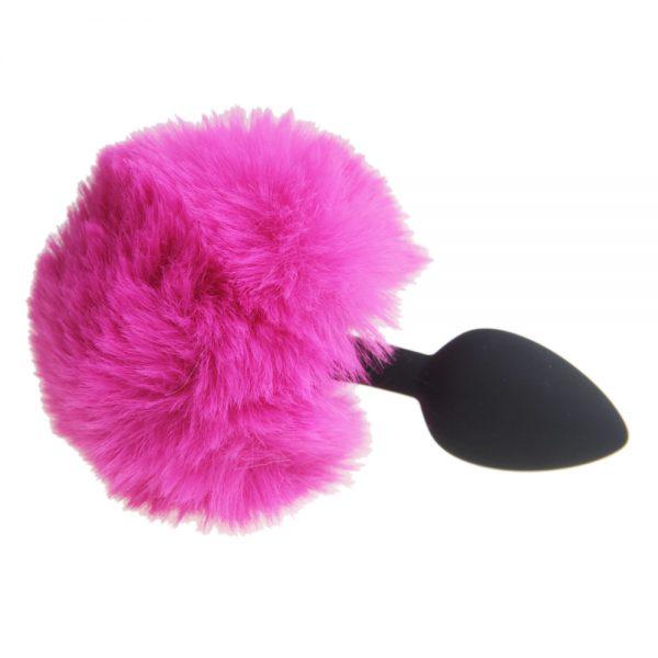 Silikónový čierny análny kolík s ružovým zajačím chvostom