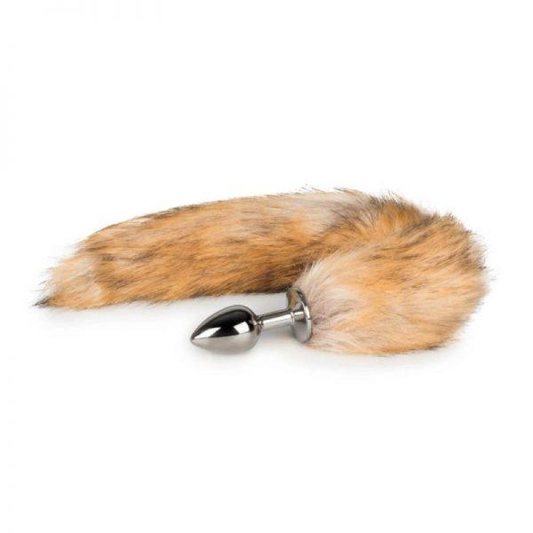 Kovový análny kolík s ryšavým líščím chvostom